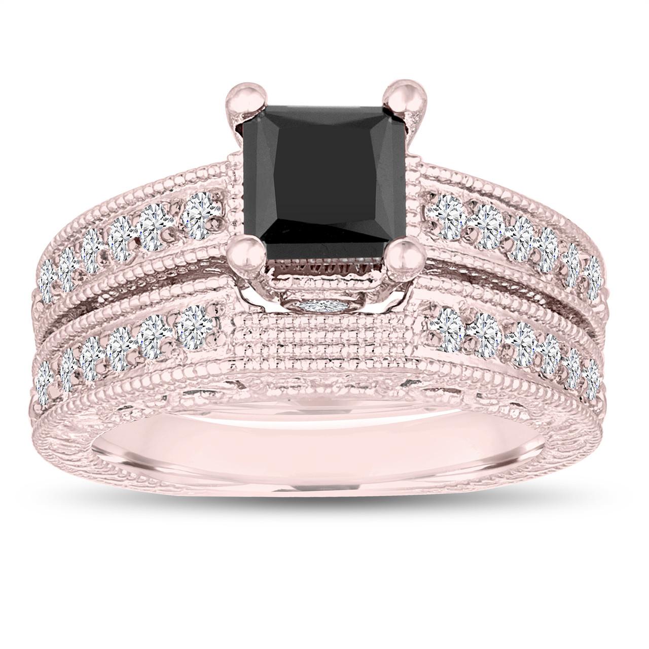 1 81 Carat Princess Cut Fancy Black Diamond Engagement Ring