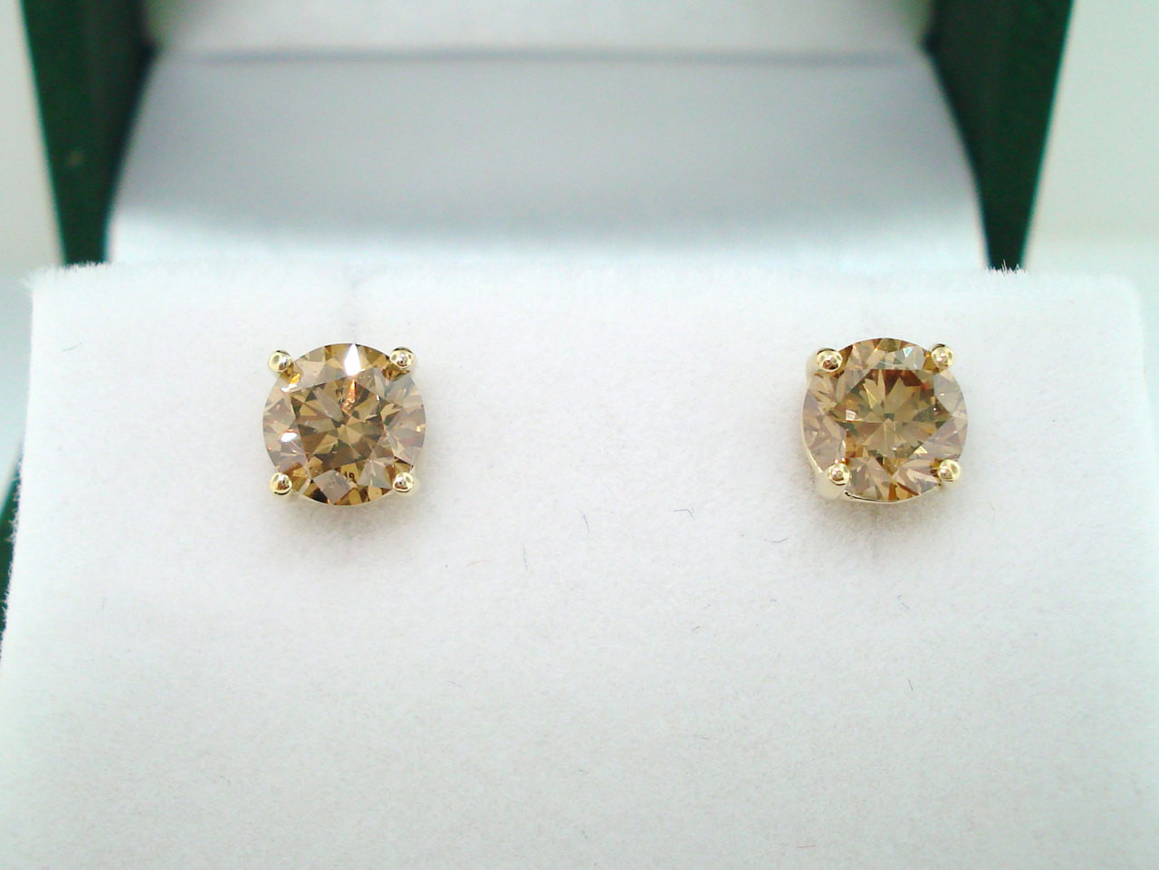 1 02 Carat Fancy Champagne Brown Diamond Stud Earrings 14k Yellow Gold Handmade
