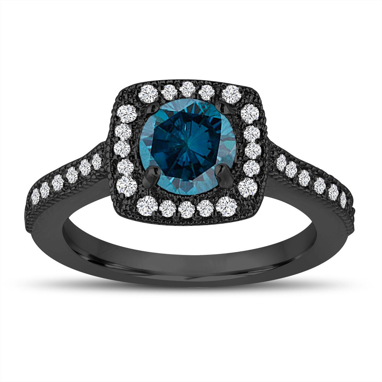 Vintage Style Blue Diamond Engagement Ring Wedding Ring 1 29 Carat 14k Black Gold Halo Pave Certified Handmade