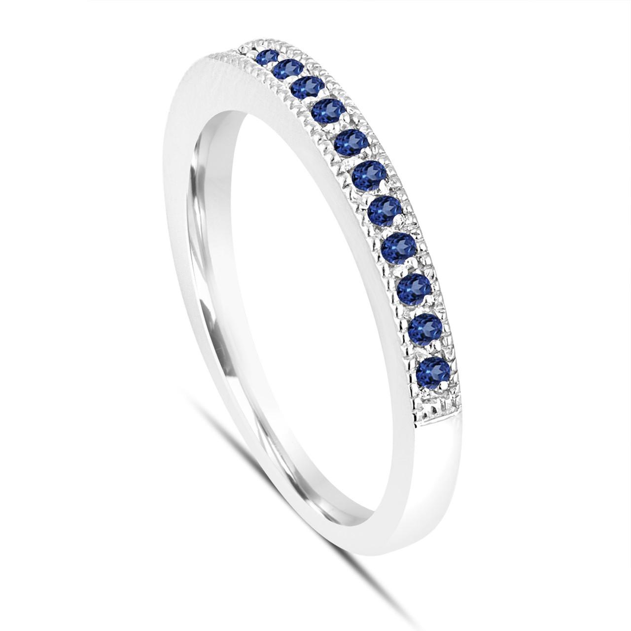 Platinum Blue Sapphire Wedding Ring Pave Anniversary Band