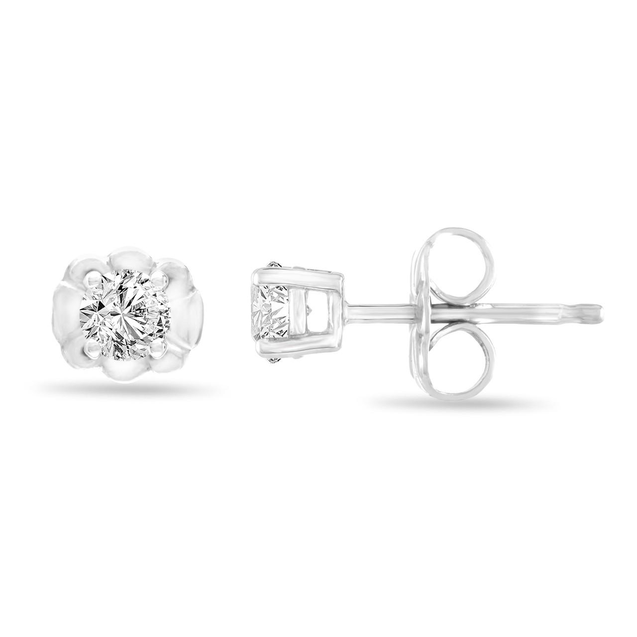 Platinum Diamond Stud Earrings 0 30 Carat Tiny Diamond Earrings Handmade Certified