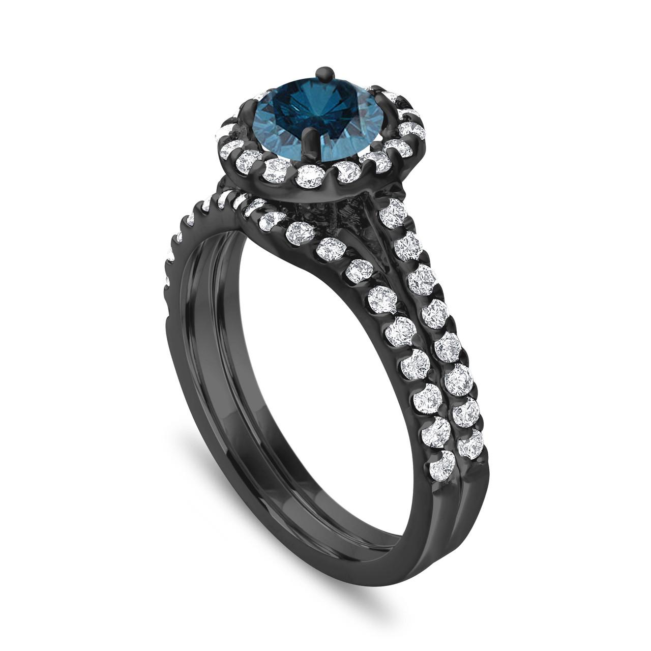 Blue Diamond Engagement Ring Set Wedding Ring Set Vintage Style Bridal Sets 1 84 Carat 14k Black Gold Unique Halo Pave Certified Handmade