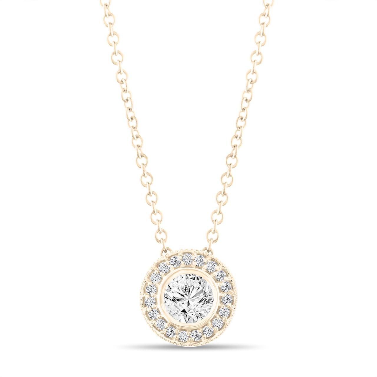 Micro Pave Diamond Pendant Necklace Yellow Gold Pendant 0 42 Carat Bezel Certified Handmade
