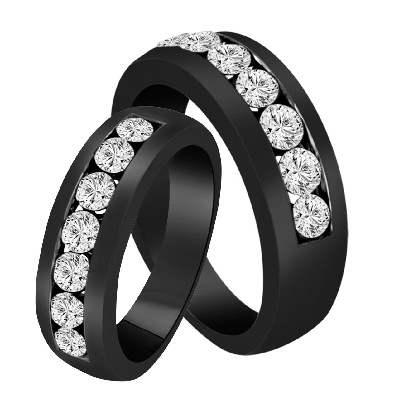 This is an image of His & Hers Wedding Bands, Diamond Matching Rings, Couple Wedding Bands Set, Half Eternity Rings, Unique 48.48 Carat 484K Black Gold