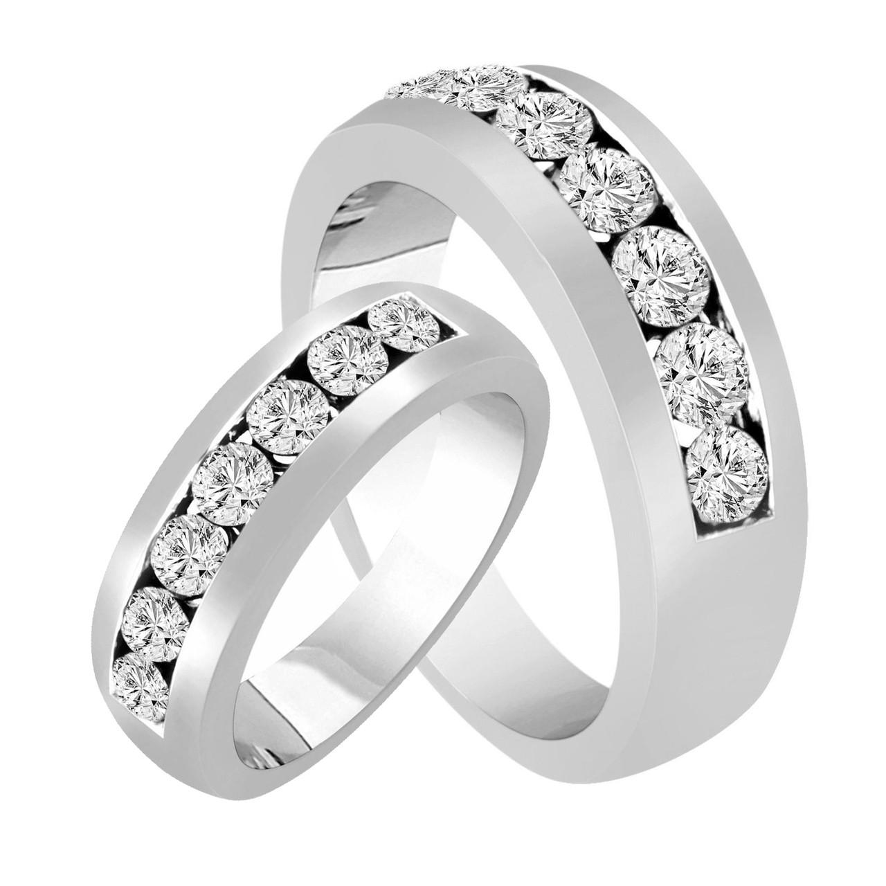 It is an image of His & Hers Wedding Rings, Diamond Matching Bands, Couple Wedding Bands Set, Half Eternity Rings, Unique 42.42 Carat 424K White Gold