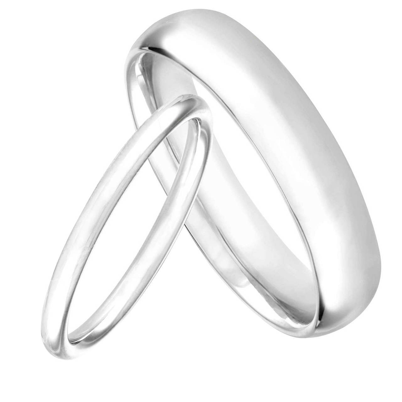 It is a photo of Platinum His and Hers Wedding Bands, Matching Wedding Rings, Couple Wedding Bands Set, Anniversary Bands, 48 mm and 48 mm