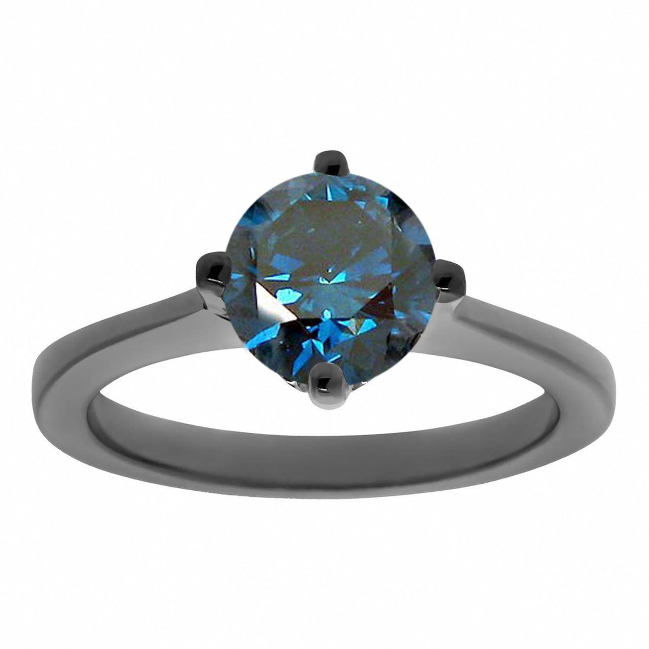 Blue Diamond Engagement Ring Vintage Solitaire Engagement Ring Unique Bridal Ring 1 22 Carat 14k Black Gold Gallery Design Handmade