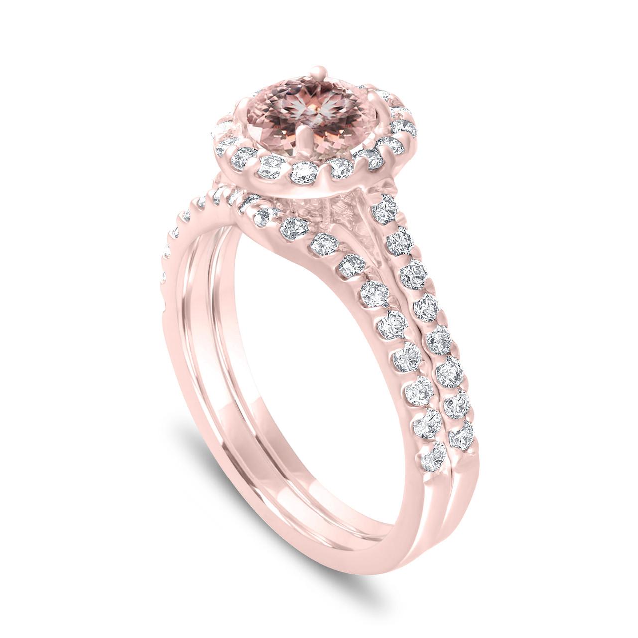 14 Karat Rose Gold Cushion Cut 1.00 Carats Peach Pink Morganite Pendant