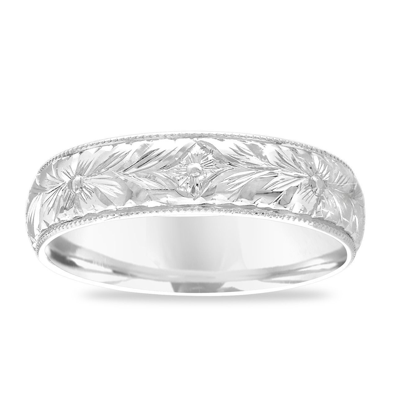 Hand Engraved Men's Wedding Band, Platinum Wedding Ring