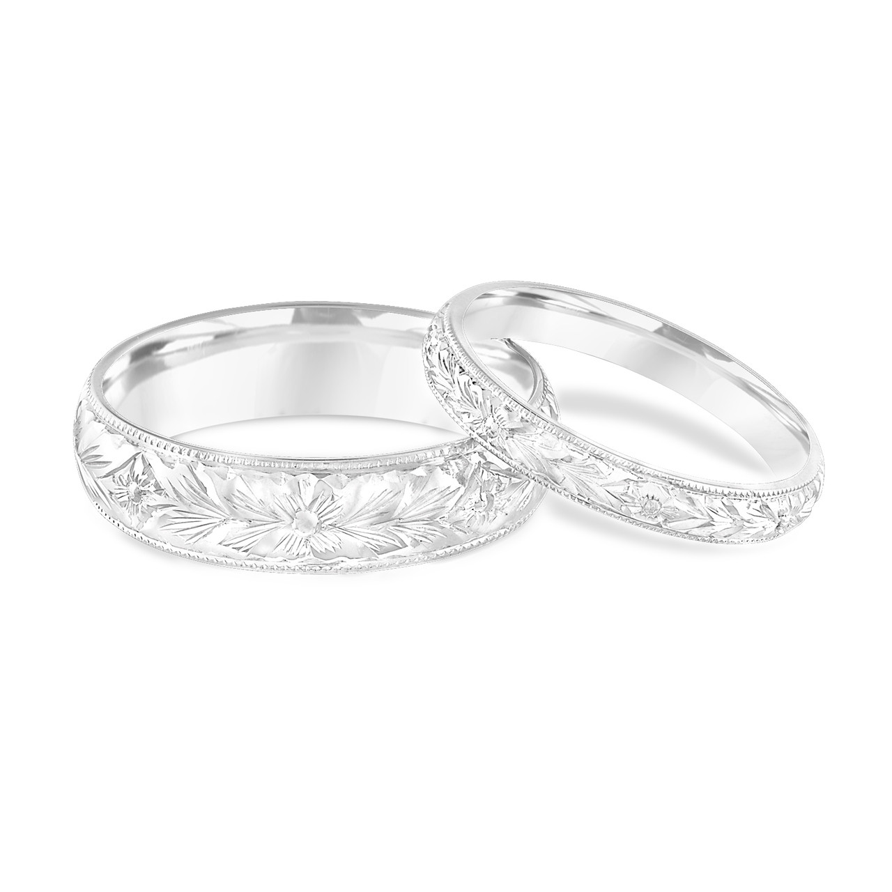 This is a graphic of Platinum Matching Wedding Rings, His and Hers Wedding Bands, Hand Engraved, Couple Wedding Bands Set, Vintage Wedding Bands, Handmade