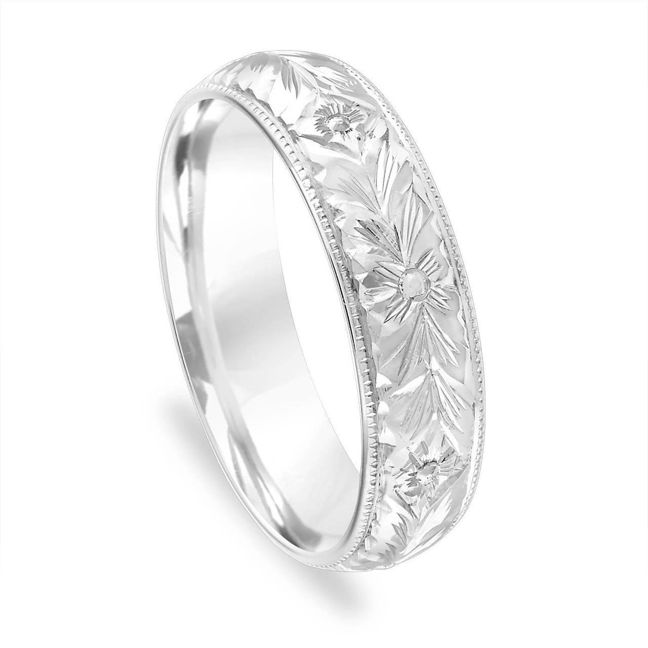 Hand Engraved Wedding Band, Mens Vintage Wedding Ring, 5