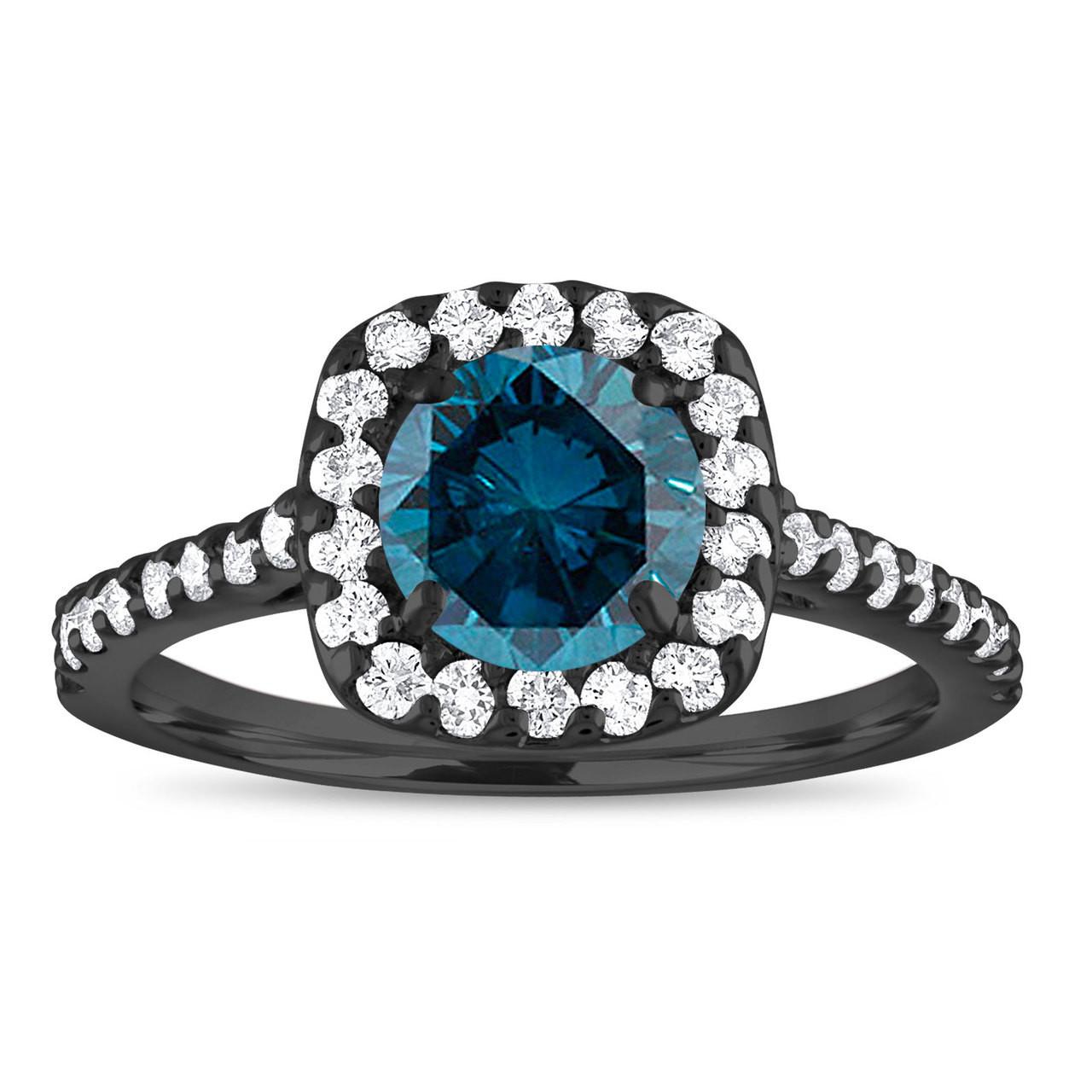 Blue Diamond Engagement Ring Halo Engagement Ring Cushion Cut Vintage Wedding Ring 14k Black Gold 1 58 Carat Unique Certified Handmade