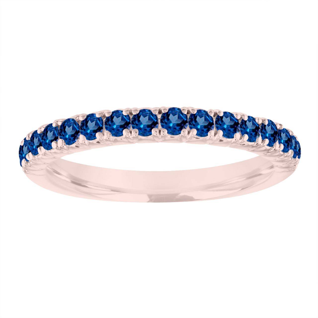 Sapphire Wedding Ring Rose Gold Blue Sapphire Wedding Band