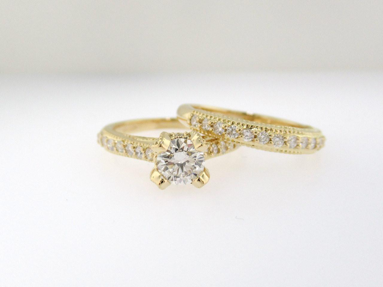 Diamond Engagement Ring Set 18k Yellow Gold Vintage Wedding Ring Sets Diamonds Bridal Rings Set 1 02 Carat Gia Certified Unique Handmade