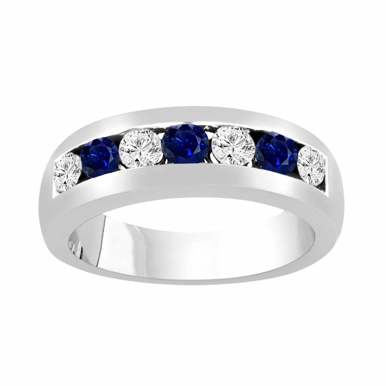 It is just a photo of Alternating Sapphire and Diamonds Wedding Band, Blue Sapphire Mens Wedding Ring, Unisex Anniversary Ring, 43.43 Carat 43K White Gold 43 mm
