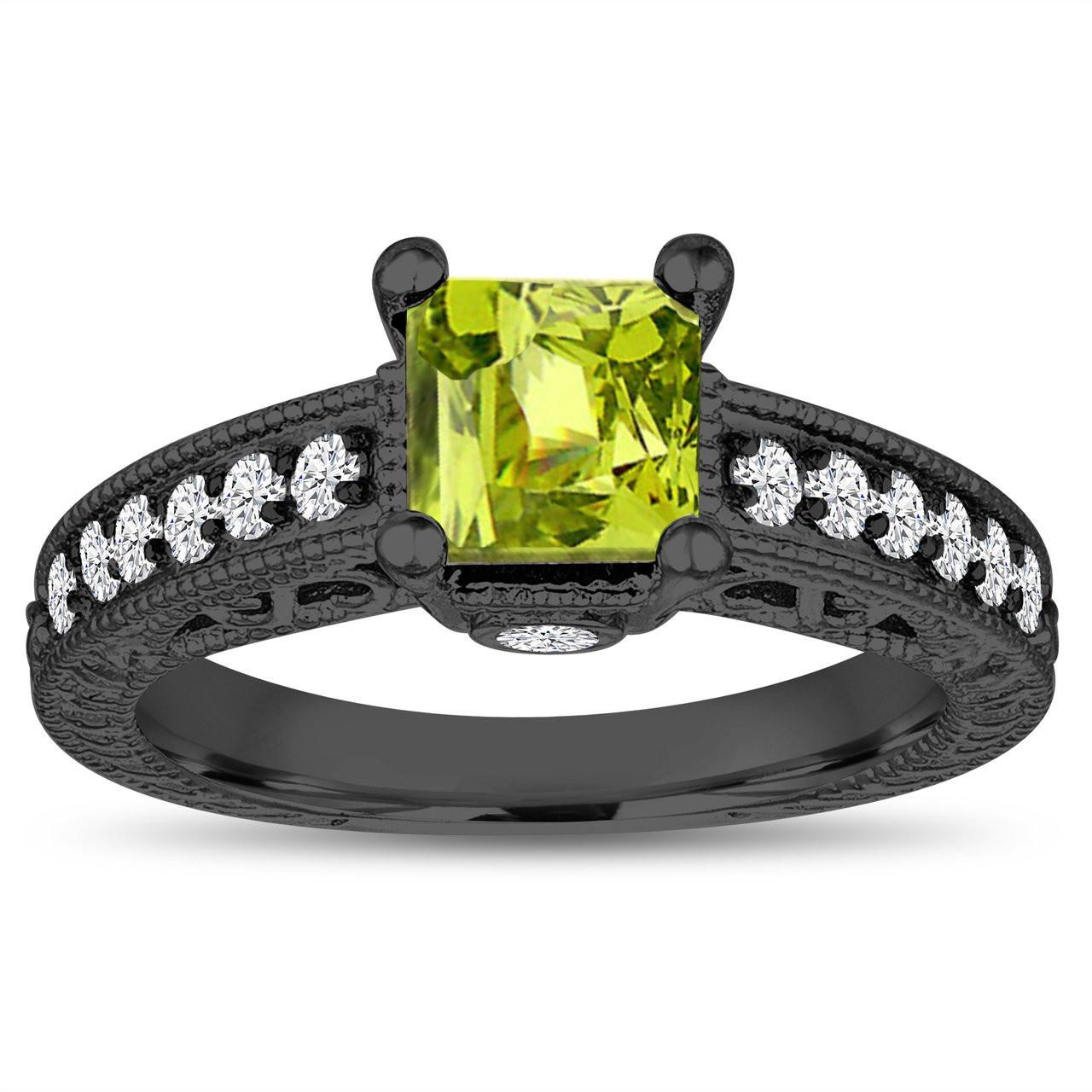 SVC-JEWELS 14K White Gold Plated Princess Peridot Mens Wedding Band Ring