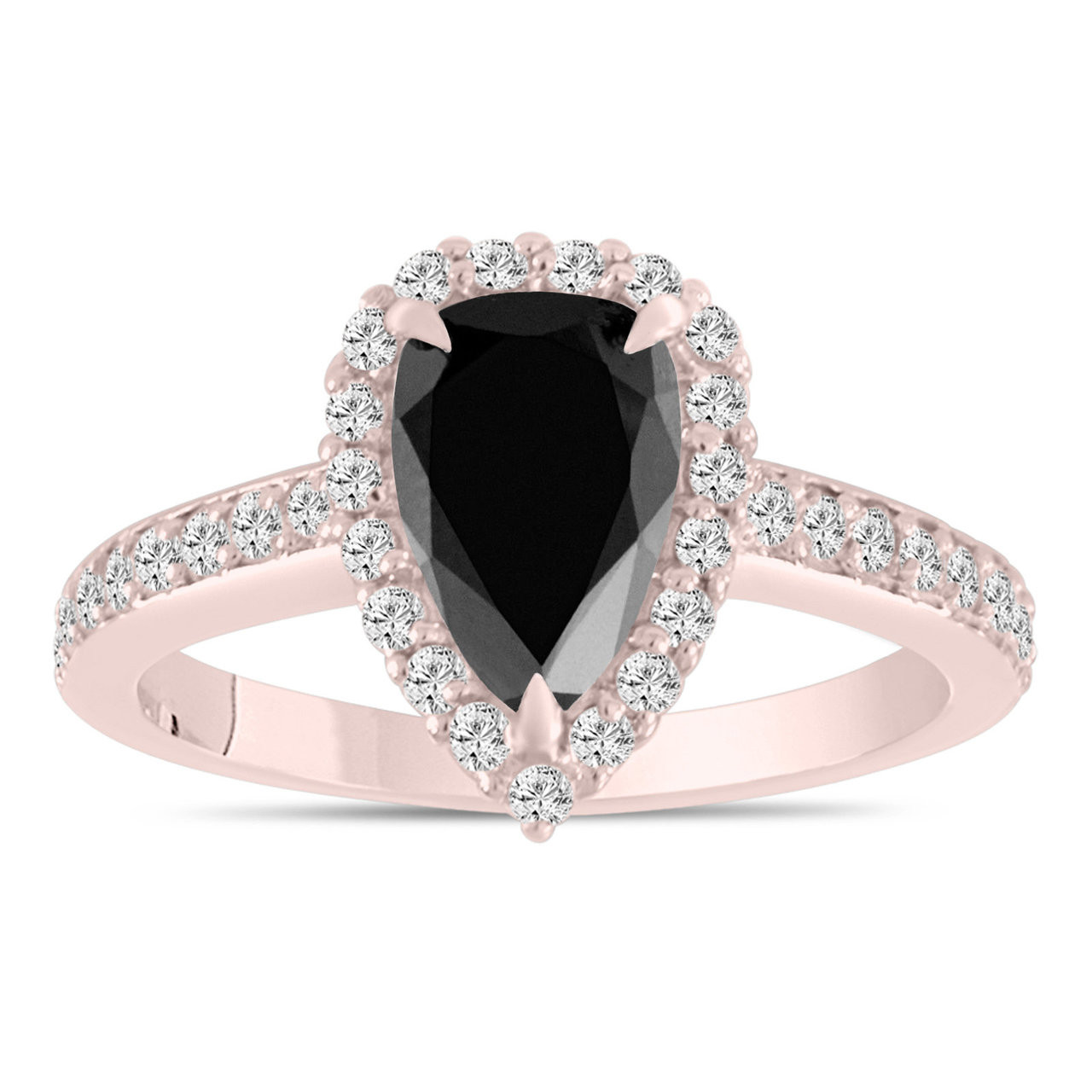 2 Carat Pear Shaped Black Diamond Engagement Ring Rose Gold Black Diamond Wedding Ring Halo Bridal Ring Unique Handmade Certified