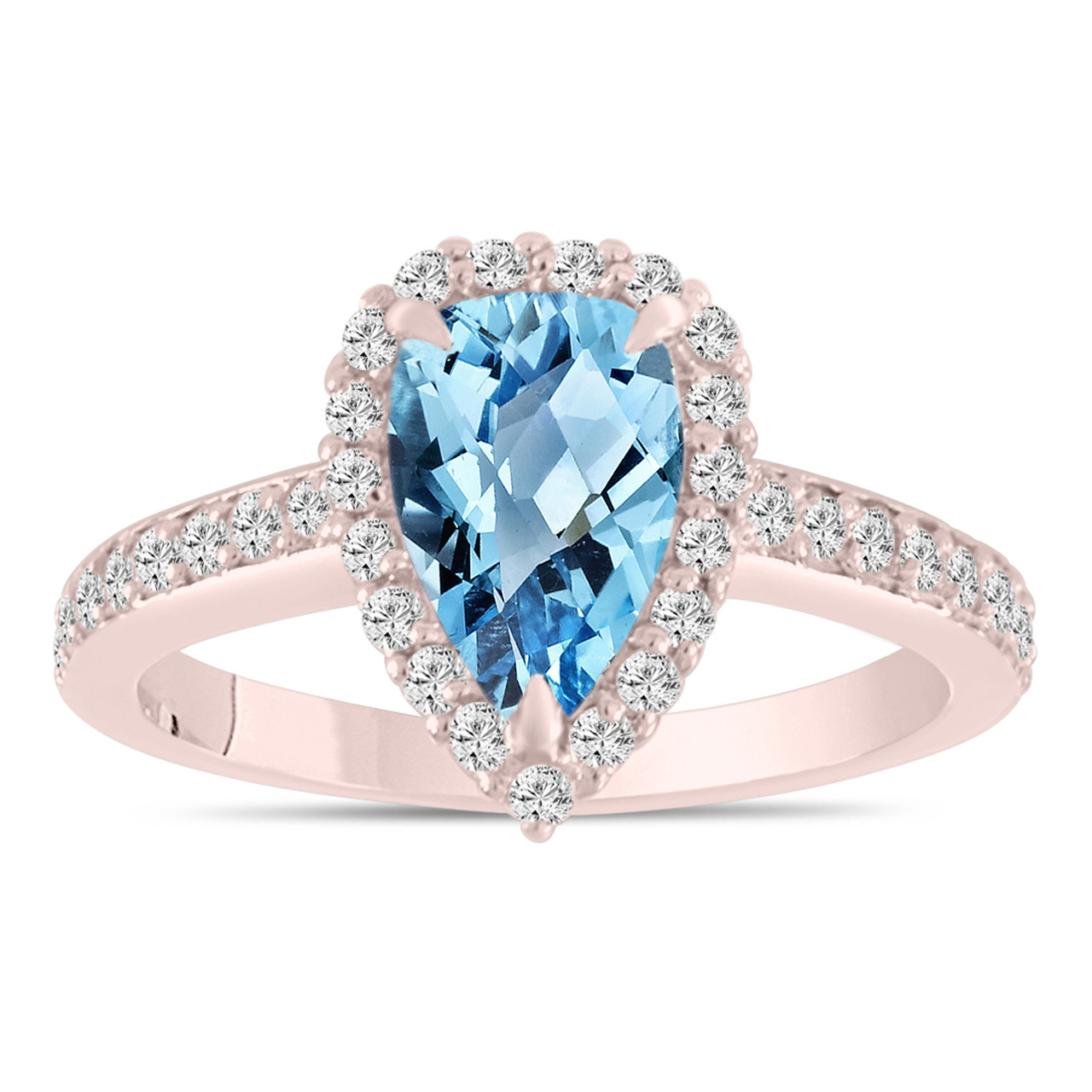 Pear Shaped Blue Topaz Engagement Ring Blue Topaz And Diamonds Wedding Ring 14k Rose Gold 2 Carat Unique Handmade Certified