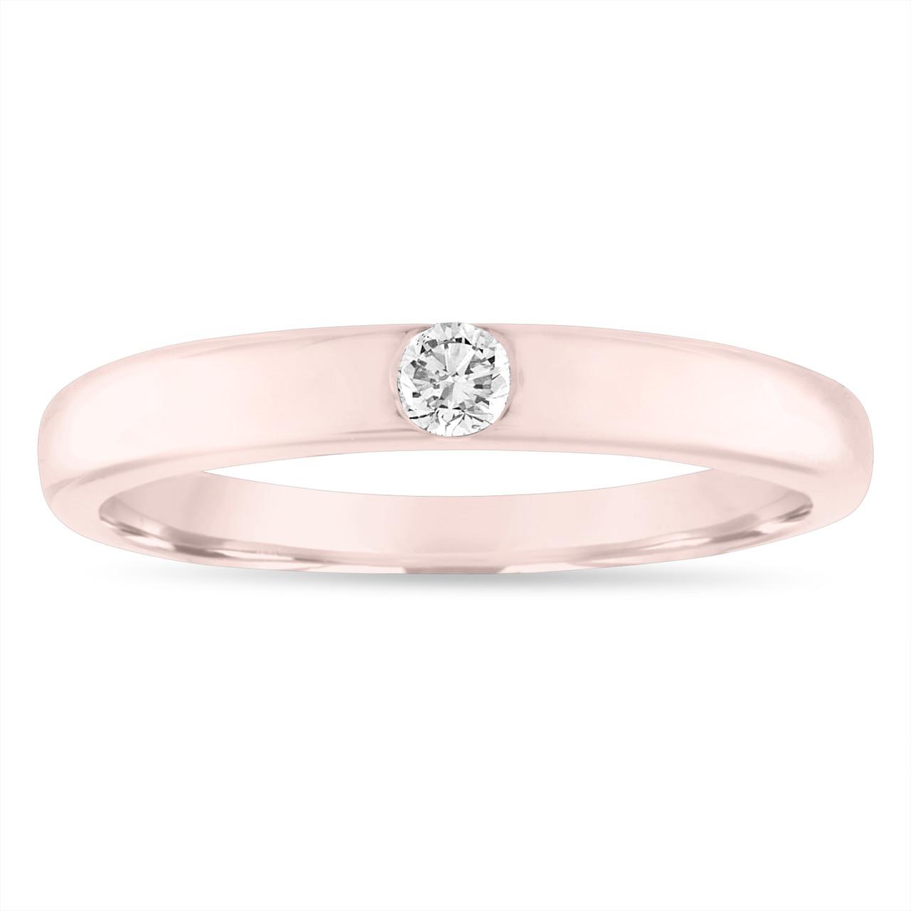 Rose Gold Diamond Wedding Band 0 10 Carat Diamond Wedding Ring Womens Solitaire Engagement Ring 3 Mm Anniversary Ring Handmade