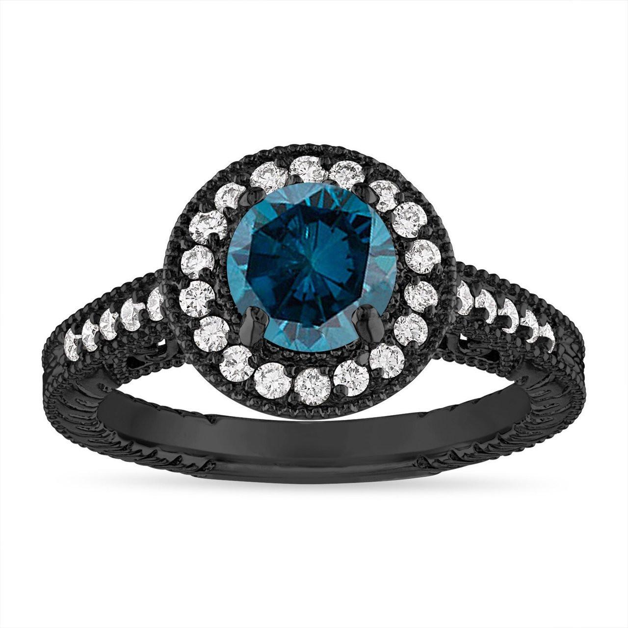 Blue Diamond Engagement Ring Wedding Ring Vintage Halo Pave 14k Black Gold 1 29 Carat Certified Handmade Unique