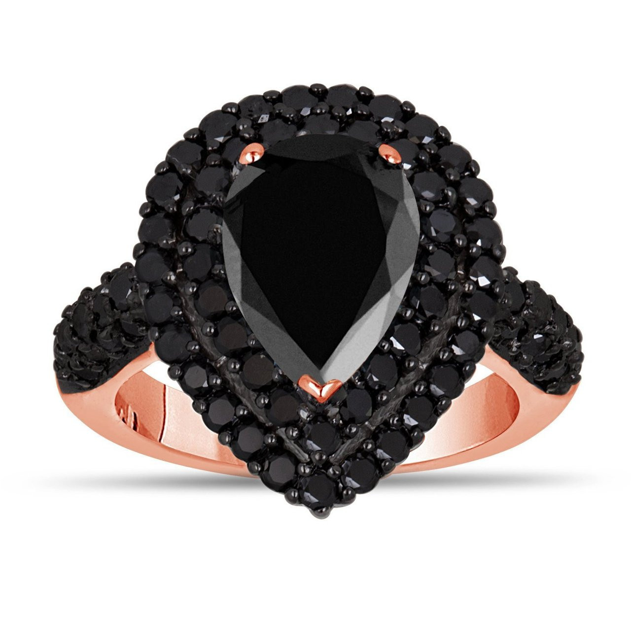 4 01 Carat Black Diamond Engagement Ring 14k Rose Gold Pear Shaped Double Halo Engagement Ring Unique Handmade Certified