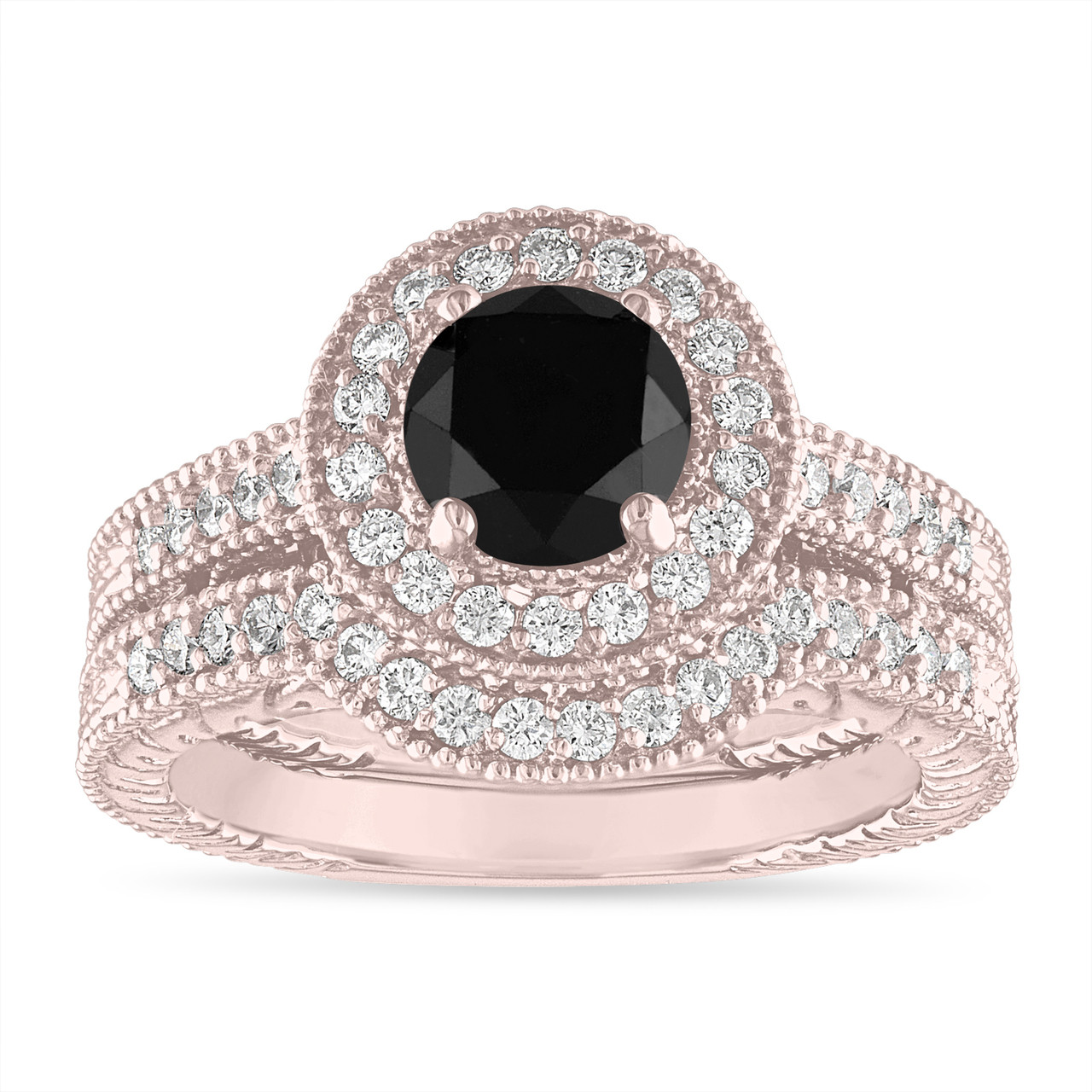 Black Diamond Engagement Ring Set Wedding Rings Sets 14k Rose Gold Halo Pave Vintage Style Certified Handmade Unique