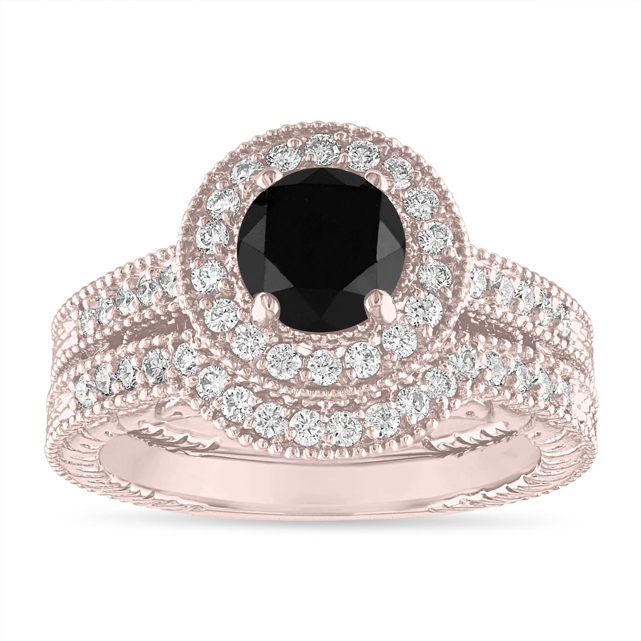 Black Diamond Engagement Ring Set Wedding Rings Sets 14k Rose Gold Halo Pave Vintage Style Certified Handmade Unique