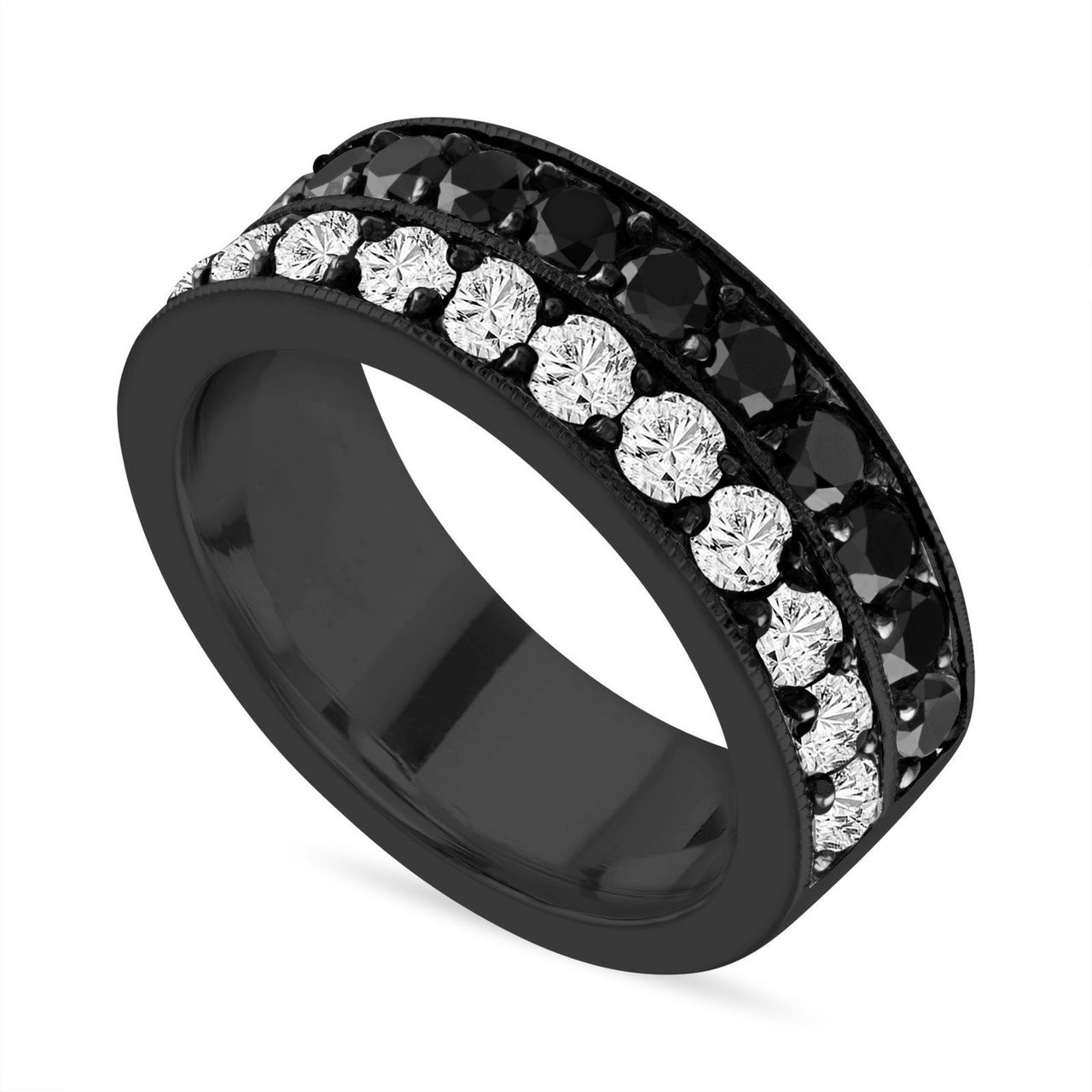 This is an image of Black & White Diamond Mens Wedding Band, Vintage Diamond Wedding Ring, 39.39 Carat 39 mm Two Row Pave 39K Black Gold Handmade Certified Unique