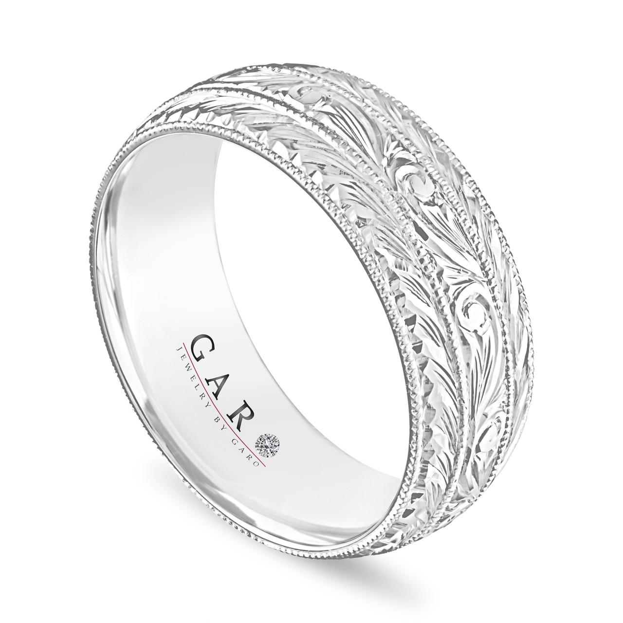 It is a picture of Platinum Hand Engraved Wedding Band, Mens 39 mm Wedding Ring, Vintage Antique Style Unique Handmade