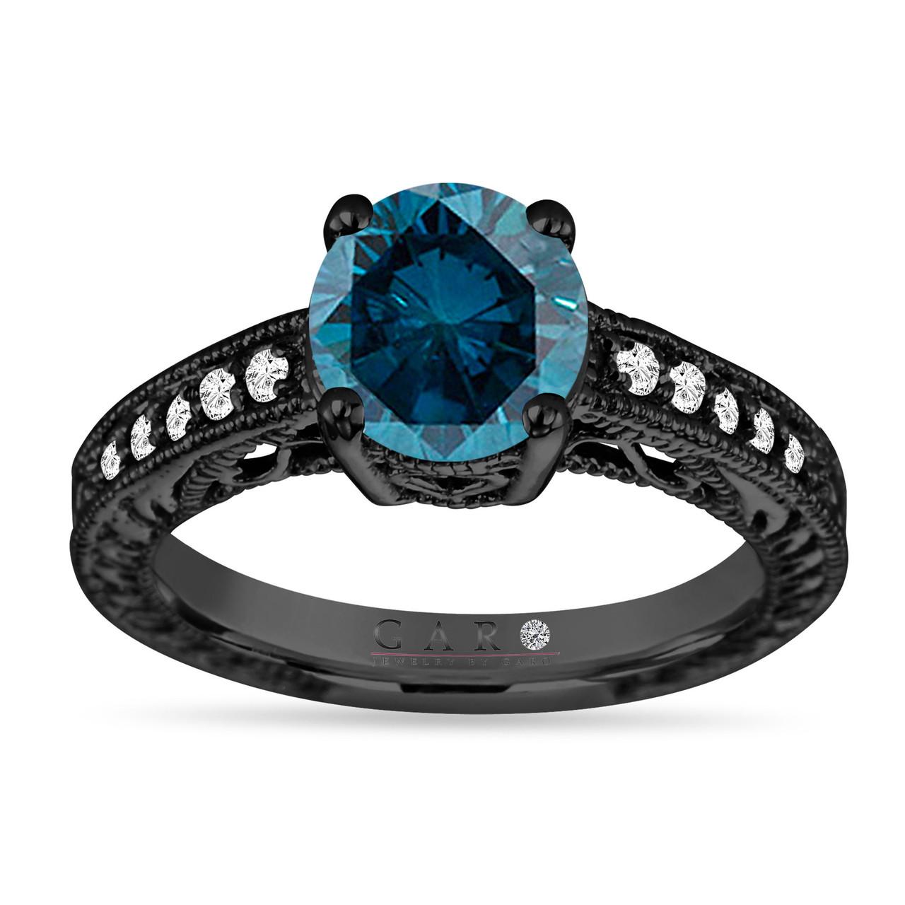 2 20 Carat Blue Diamond Engagement Ring Unique Vintage Style 14k Black Gold Certified Handmade