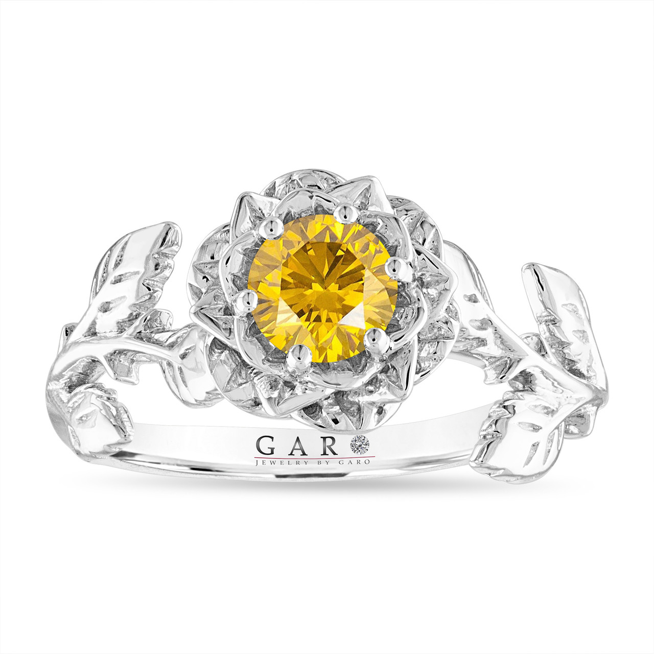 Fancy Yellow Diamond Floral Engagement Ring Rose Floral Solitaire Ring Unique Vs1 0 50 Carat 14k White Gold Certified