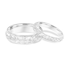 Platinum Matching Wedding Rings, His and Hers Wedding Bands, Hand