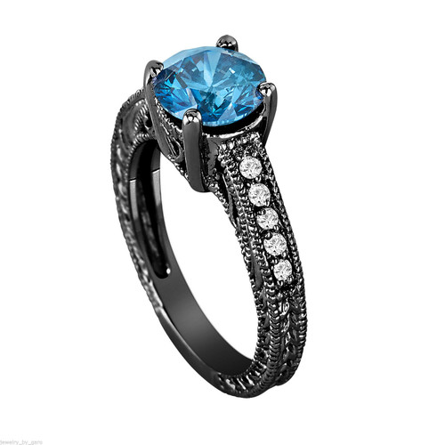 Fancy Blue Diamond Engagement Ring Vintage Style 14k Black Gold Certified 1 48 Carat Handmade