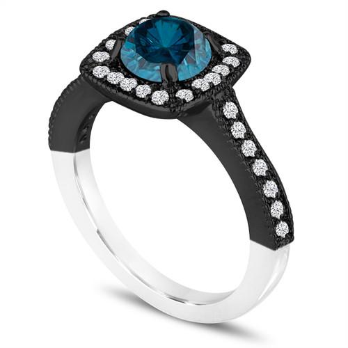 Unique Blue Diamond Engagement Ring Wedding Ring 1 29 Carat 14k White Black Gold Vintage Style Halo Pave Certified Handmade