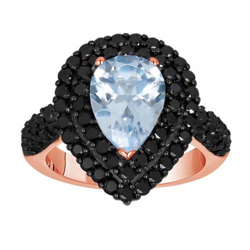 Pear Shaped Aquamarine Engagement Ring 14k Rose Gold 3 08 Carat Unique Handmade Certified Birthstone