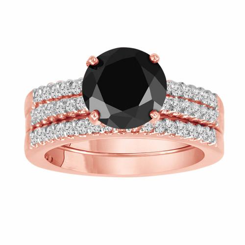 Black Diamond Engagement Ring And Two Wedding Band Sets 14k Rose