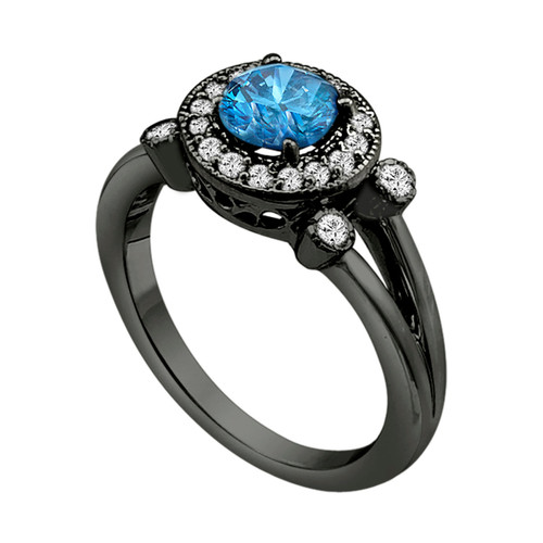Blue Diamond Engagement Ring Vintage Style 14k Black Gold Halo 1 00 Carat Certified Handmade Ring