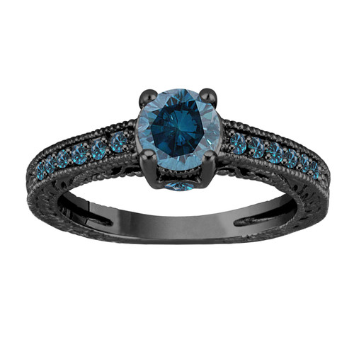 1 20 Carat Blue Diamond Engagement Ring Wedding Ring 14k Black Gold Unique Vintage Antique Style Engraved Certified Handmade