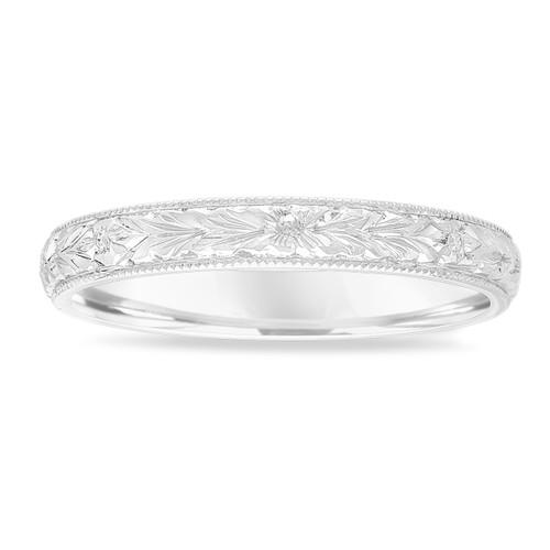 Hand Engraved Wedding Band 18k White Gold Vintage Wedding Ring Womens Wedding Band Unique Wedding Band 3 Mm Anniversary Band Handmade