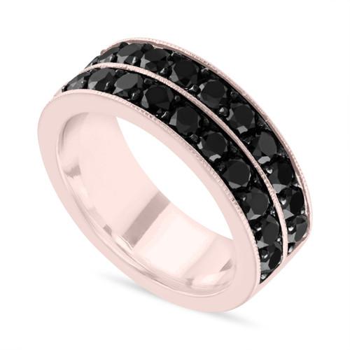 Black Diamond Mens Wedding Band Rose Gold Mens Wedding Ring 8 Mm