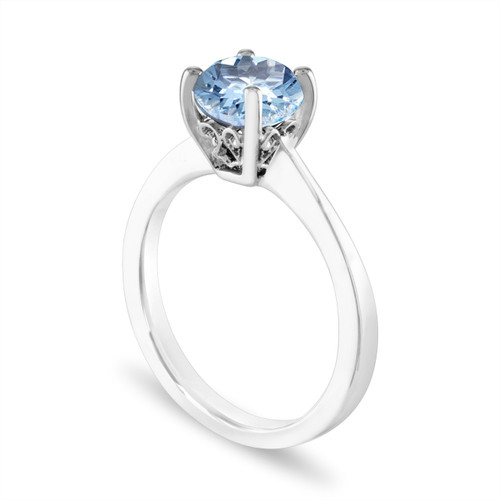 14Kt Gold 2 CT Aquamarine /& Diamant Halo Design Ring