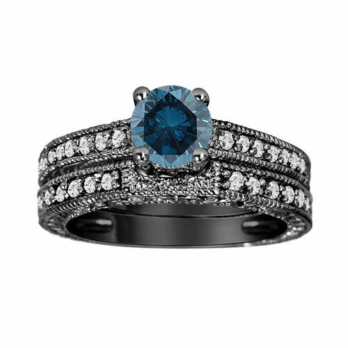 0 80 Carat Blue Diamond Engagement Rings Sets Anniversary Rings Set 14k Black Gold Antique Vintage Style Engraved Handmade Certified
