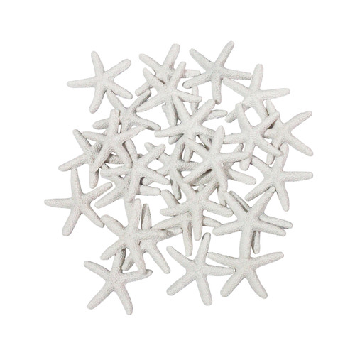 LJY 25 Pieces White Resin Pencil Finger Starfish for Wedding Decor, Home Decor and Craft Project