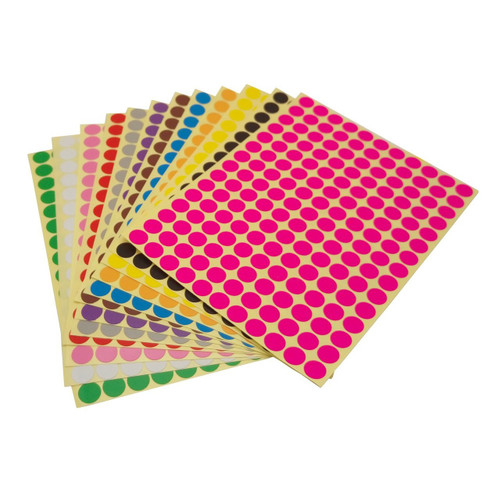 LJY 10mm Round Dot Stickers Color Coding Labels, 12 Different Assorted Colors Dot Labels, 12 Sheets
