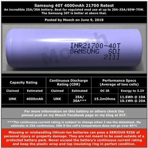 SAMSUNG 40T INR21700 4000mah 25A -30A