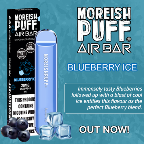 MOREISH PUFF AIR BAR DISPOSABLE POD DEVICE - BLUEBERRY ICE 20MG 2ML