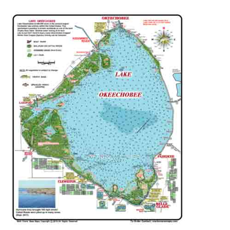 The Lake Okeechobee Bass map is the most detailed topo, vegetation map for fishing available on the market. Tournament fisherman find it especially valuable for getting the total lake picture.