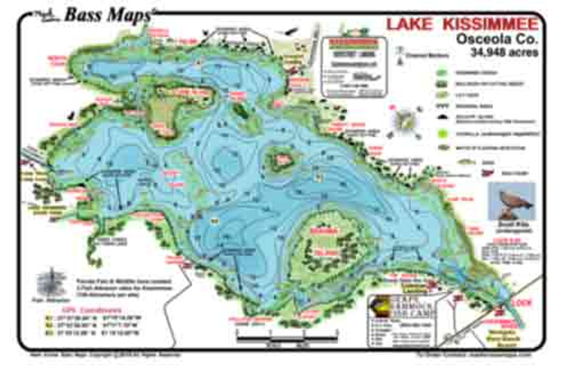 The Kissimmee Bass Map is the most detailed topo/fishing map available.  Types of vegetation, fish attractors, scraped areas, best Bassy areas marked,  seasonal patterns and tips all in an easy to read waterproof format.