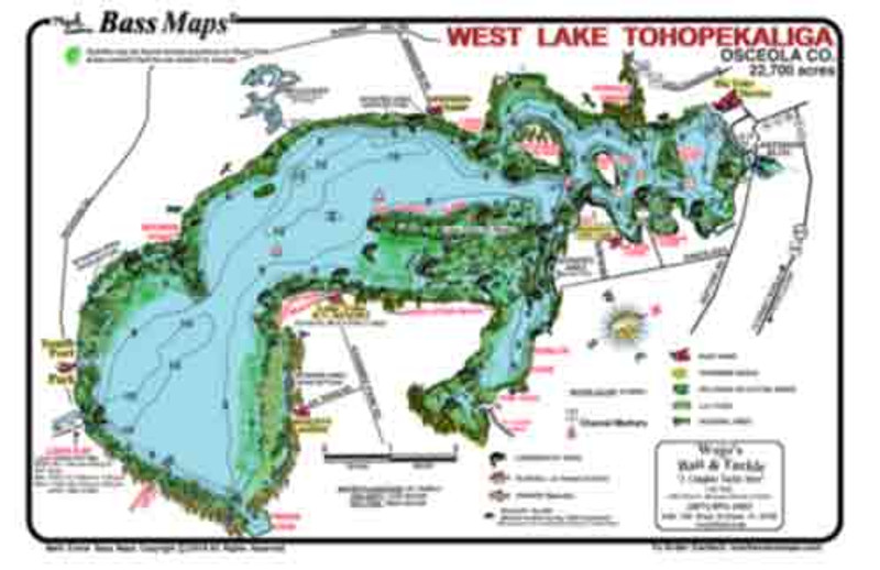 The West Toho Bass map is the most detailed topo / fishing map. Bass fishing features include Kissimmee grass,  hydrilla, lily pads, reeds, docks, scraped areas, and cypress trees. Also included are marked best areas for Bass as well as seasonal patterns and tips. All this in an easy to read waterproof format.