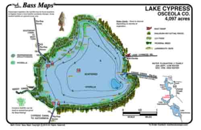 Lakes Cypress and Hatchineha are a 2-sided detailed topo / fishing map. Best Bass fishing spots  marked. Bass fishing features include prime vegetation printed on waterproof plastic.